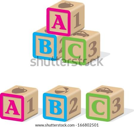 ABC Baby Blocks - stock vector