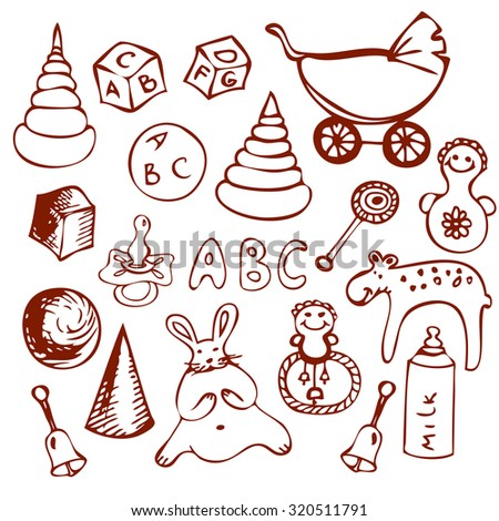 ABC baby toys doodle set. - stock vector