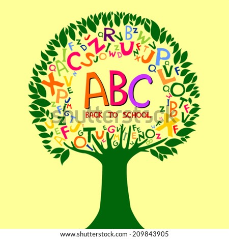 Abc. Back to school. Abstract background with colorful letters. Vector illustration.  - stock vector