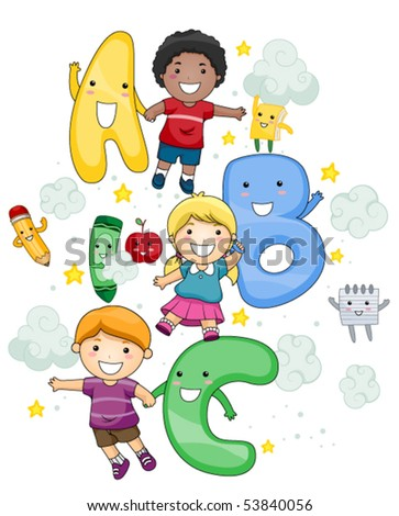 ABC Children - Vector - stock vector