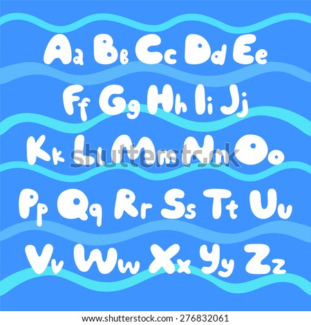 ABC for children, funny cartoon hand drawing alphabet with some waves on background eps 10 - stock vector