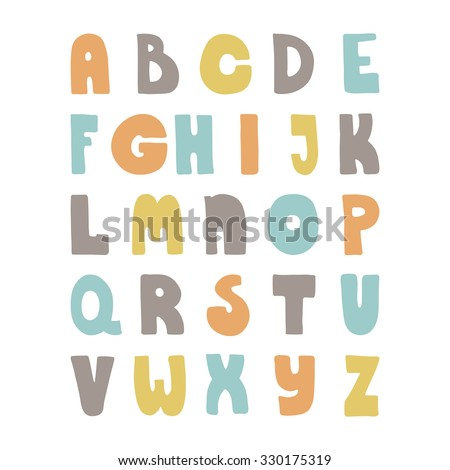 ABC for your design. Easy to use and edit letters. Cute hand drawn alphabet made in vector.  - stock vector