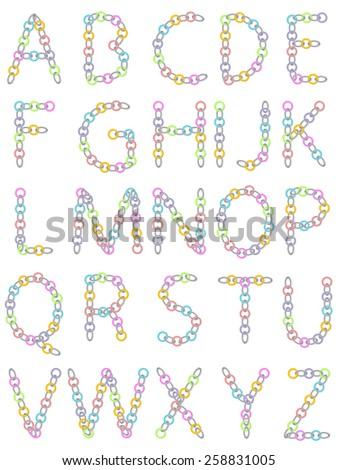 Abc from colored and metallic chain on white - stock vector