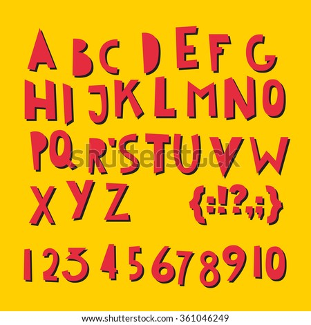 ABC Latin letters and numbers alphabet. Vector set - funky alphabet - stock vector