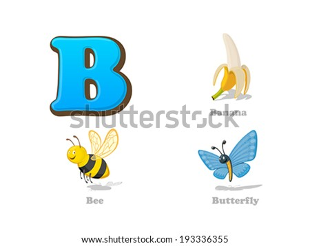 ABC letter B funny kid icons set: banana, bee, butterfly.  Alphabet children education collection. - stock vector