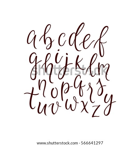 Modern Calligraphy Alphabet Font Thin Line Characters Set Sleek Lowercase