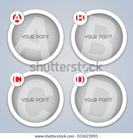 ABC progressive circular labels / templates in white - stock vector
