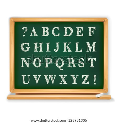 abc set written on blackboard - stock vector