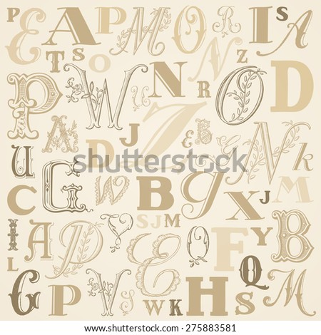 ABC vector background - beige tones - stock vector