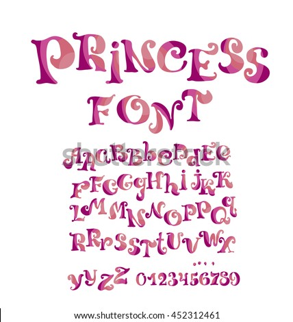Abc Vector Font For Girl With Numbers And Alphabet Child Style ABC Kids