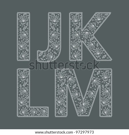 ABC. Vector set of lace fonts - stock vector