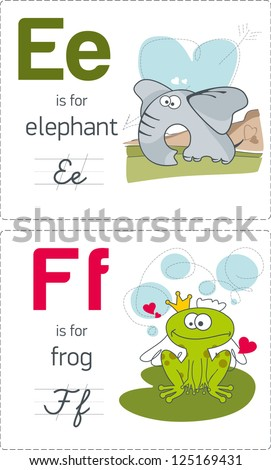 abc with animals. E-F. Elephant - Frog. - stock vector