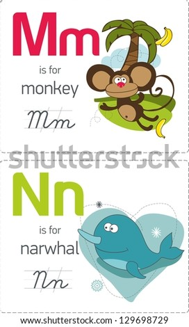 abc with animals. M-N. Monkey - Narwhal. - stock vector