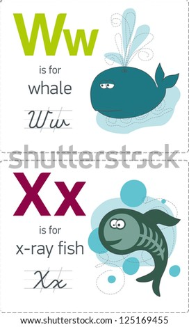 abc with animals. W-X. Whale - X-ray fish - stock vector