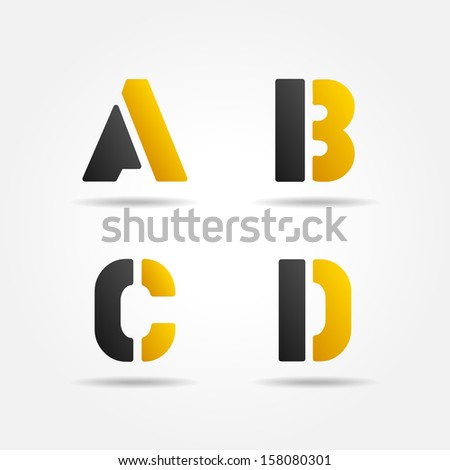 abcd yellow stencil letters - stock vector