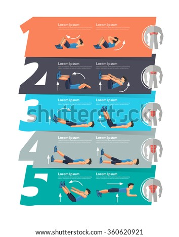 Abdominal exercise infographics banner, number 1 2 3 4 5 layout, diagram, step up options, Vector illustration modern design template - stock vector