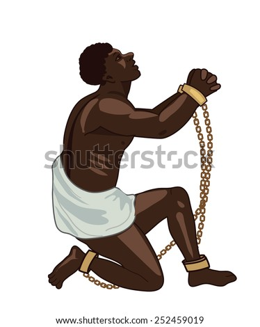 Abolition of slavery. Freedom. Towards Freedom. Man in chains. Slave owners. Exemption. Vector figure. Strong man. Will to live. Captive. Captive man. Vector illustration. Pressure. Slave. - stock vector