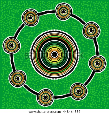 Aboriginal art vector background. Green - stock vector