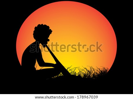 aboriginal man  sitting in the grass playing a didgeridoo  - stock vector