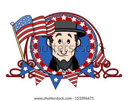 Abraham Lincoln - Cartoon Vector Illustration - stock vector