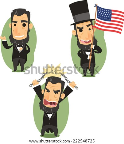 Abraham Lincoln Government Abolitionist Freedom President of the united states of america, vector illustration cartoon. - stock vector