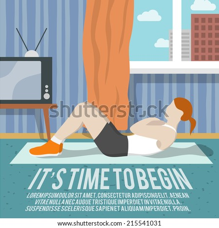 Abs training woman at home sport fitness lifestyle time to begin poster vector illustration - stock vector