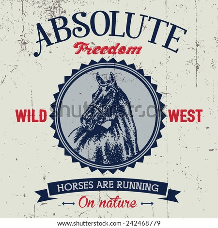 Absolute freedom logo label with hand drawn dotted style horse at the center. - stock vector