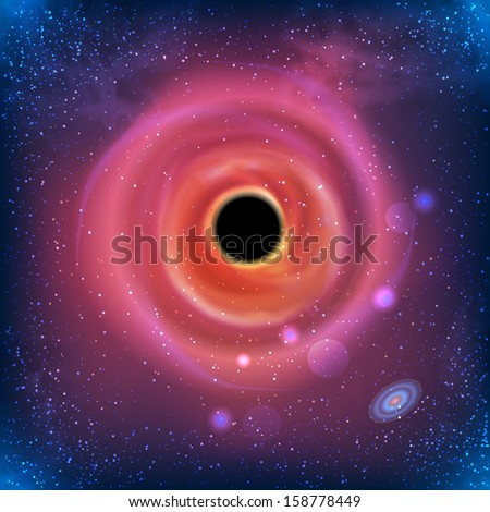 Absolutely Vector Beautiful Glowing Galaxy Black Hole - stock vector