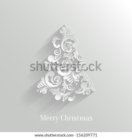 Absrtact Floral Christmas Tree Background, Trendy Design Template - stock vector