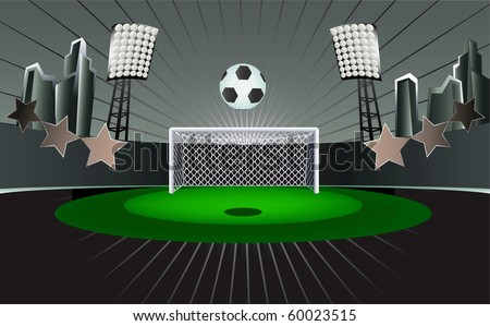 Abstact  soccer field with detailed goal nd city background. - stock vector
