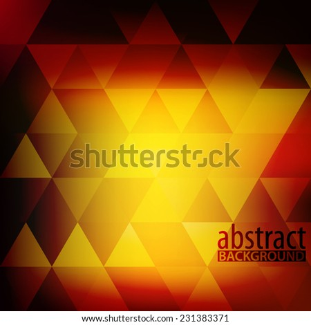 Abstarct dark red and yellow pattern with triangles. Vector - stock vector