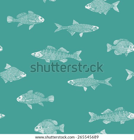 Abstrac seamless marine color pattern of grunge imprint fish Vector illustration eps 10 - stock vector