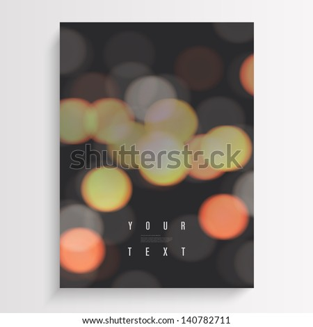 Abstract A4 / A3 format blur city lights photo style design background with text Eps 10 vector illustration - stock vector