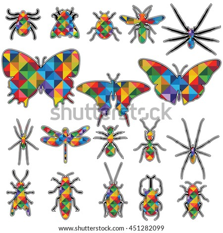 Abstract a geometric design in Shape insects vector collection. Insects biology natural isolated icons. - stock vector