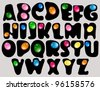 Abstract ABC,black alphabet with color drops, beautiful vector illustration - stock vector