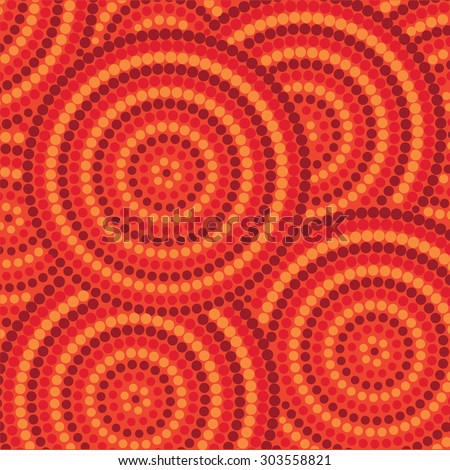 Abstract Aboriginal dot painting in vector format. - stock vector