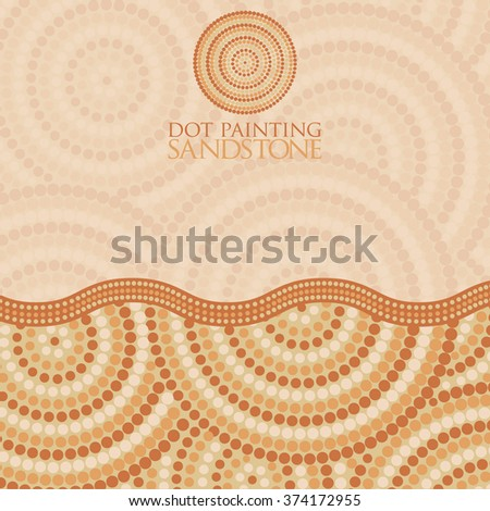 Abstract Aboriginal Dot Painting Vector Format Stock Vector