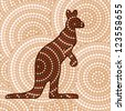 Abstract Aboriginal Kangaroo dot painting in vector format. - stock photo