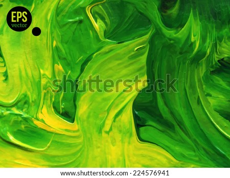 Abstract acrylic painted background. Vector illustration. Hand drawn green strokes. Ecology backdrop. Imitation of child's drawing. - stock vector
