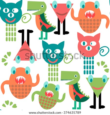 Abstract adorable monsters  seamless pattern and seamless pattern in swatch menu, vector image - stock vector