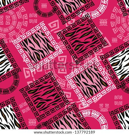 Abstract african style seamless with wild animal skin pattern - stock vector