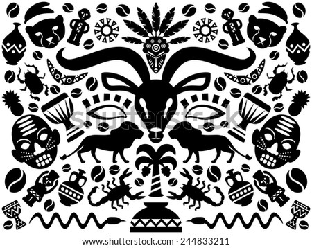 Line Drawings Of African Animals : Abstract african tribal ornamental background animals stock vector