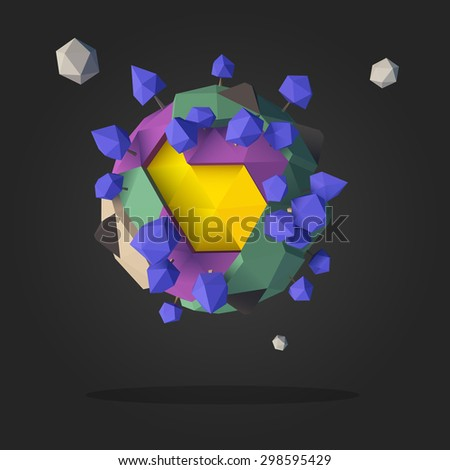 Abstract Alien Planet Low Poly Geometry Design Vector - stock vector