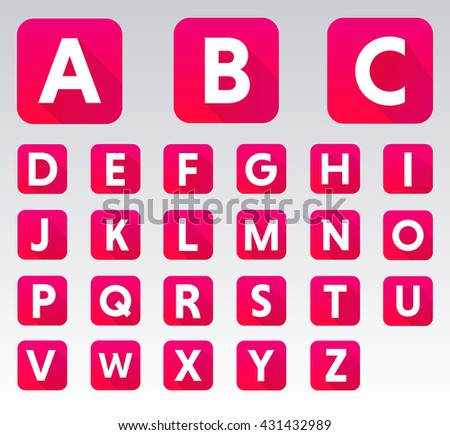 Abstract alphabet letters vector icons in square vector design