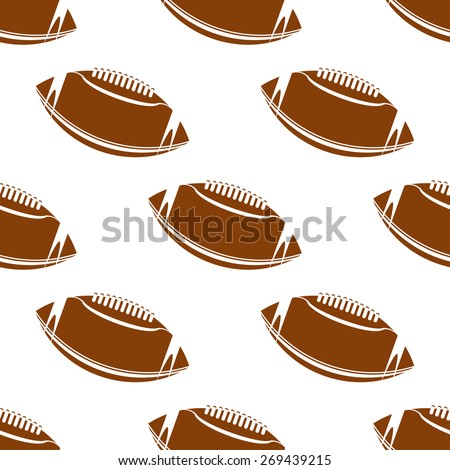 Abstract american football seamless pattern showing classic leather brown rugby balls with lacing on white background suited for fabric or wrapping design - stock vector