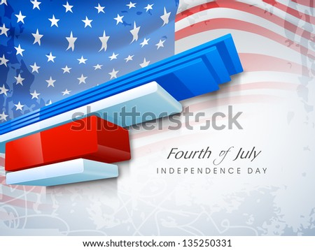 Abstract American Independence background with waving flag.