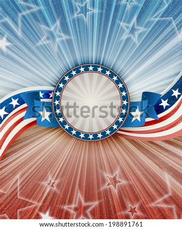 Abstract american patriotic background with banner, EPS 10 contains transparency - stock vector