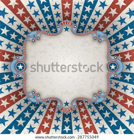 Abstract american patriotic background with frame, EPS 10 contains transparency. - stock vector