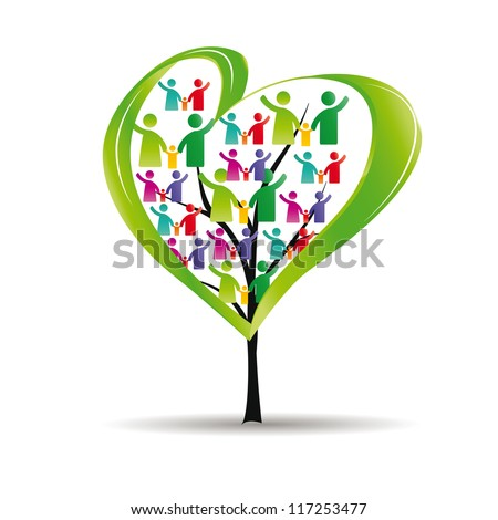 Abstract and colorful figures showing happy peoples and tree with heart