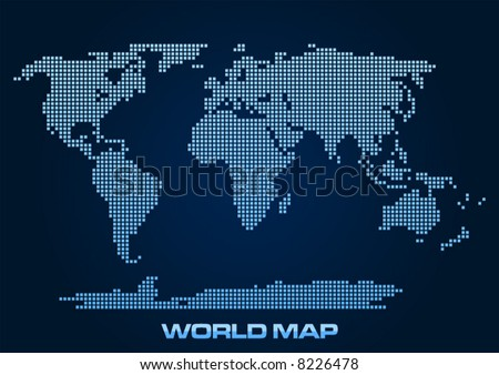 Abstract and simplified world map formed by squares. - stock vector